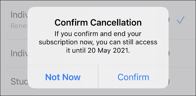 Confirm Cancellation on iPhone