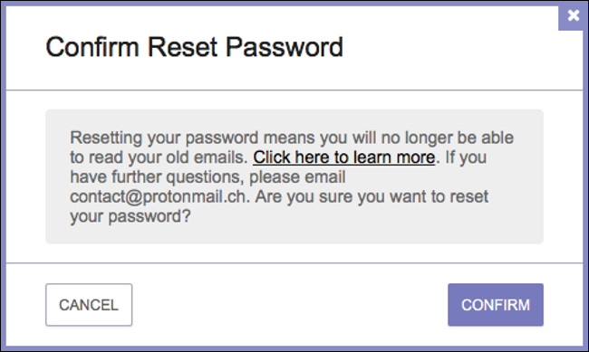confirm your password reset