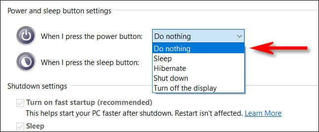 """In the drop down menu, choose any option other than """"Shut Down."""""""