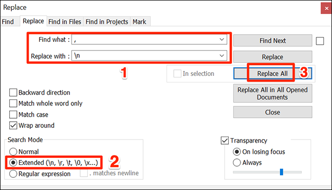 "In the ""Replace"" window, enter the proper values and click ""Replace All."""