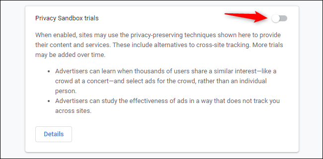 """Disable the """"Privacy Sandbox trials"""" switch."""