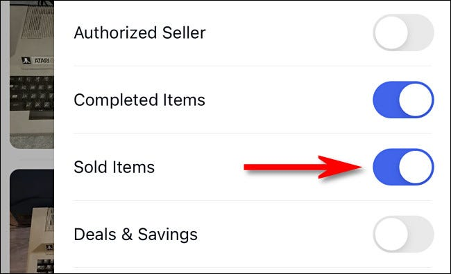 """On the eBay mobile app, flip the switch beside """"Sold Items."""""""