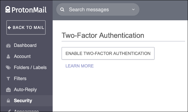 Enable two-step verification in ProtonMail