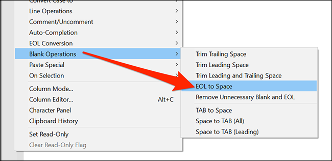 "In the ""Edit"" menu, select ""Blank Operations"" and ""EOL to Space"" option in Notepad++."