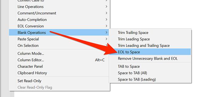 """bên trong """"Biên tập"""" menu, chọn """"Hoạt động trống"""" và """"EOL đối với không gian"""" tùy chọn trong Notepad ++."""