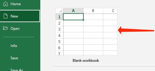Click Blank Workbook