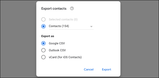 Export Gmail Contacts as CSV
