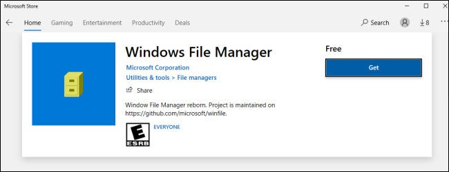 File Manager in the Windows Store
