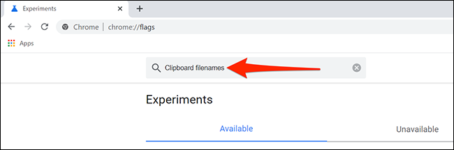 Search for clipboard file names in Chrome