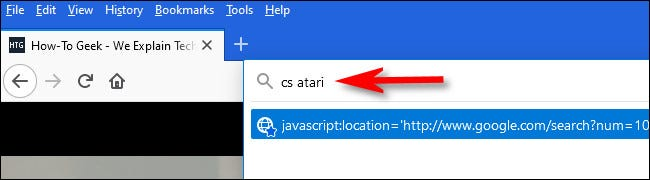 """Перейдите на Howtogeek.com и введите """"cs atari"""" в адресной строке, затем нажмите Enter."""