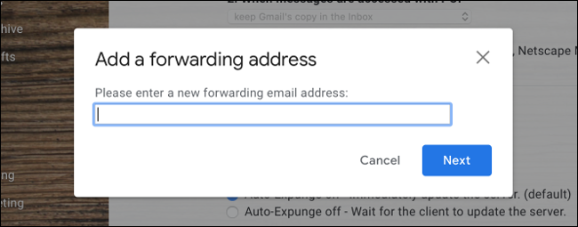 Add Forwarding Address to Gmail