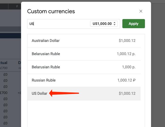 Нажмите доллар США