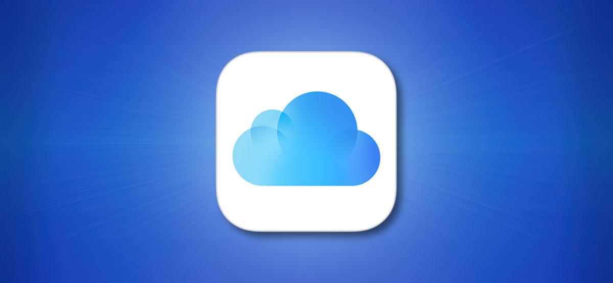 Значок Apple iCloud на синем фоне
