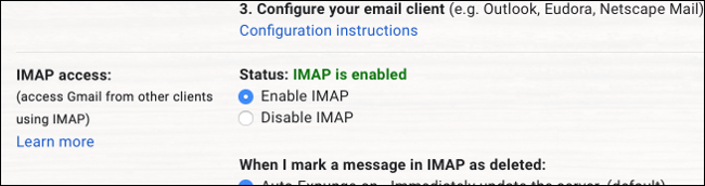 Gmail IMAP Enabled