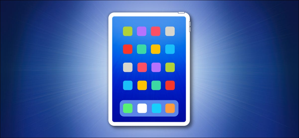 iPad Outline on a Blue Background With Colorful Icons hero