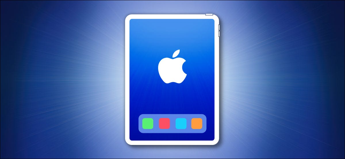 iPad Outline with Dock on a Blue Background
