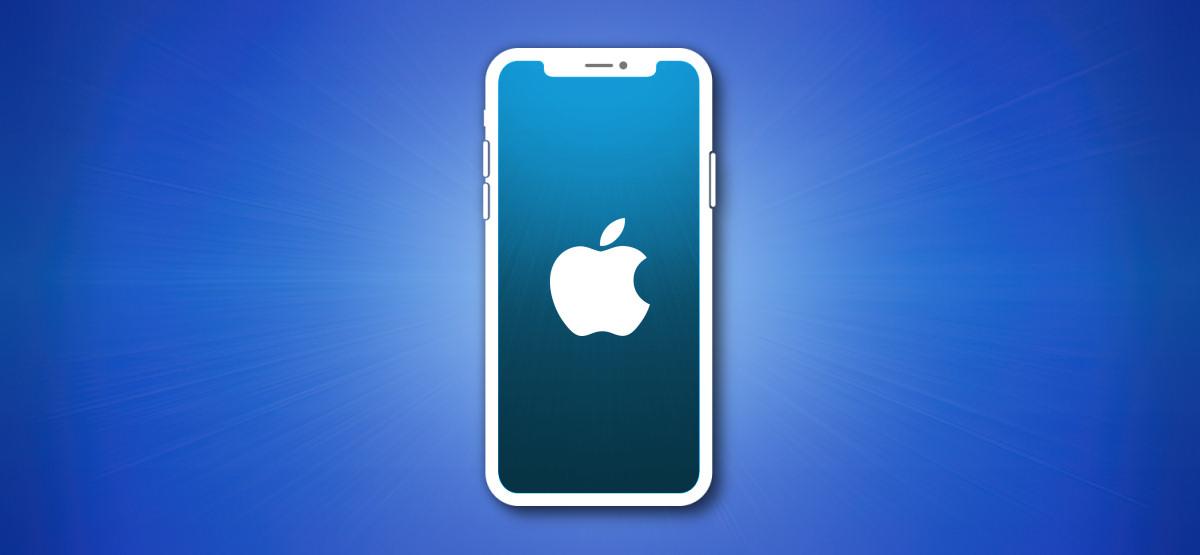 Контур Apple iPhone на синем