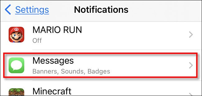 """In Notifications, tap """"Messages."""""""