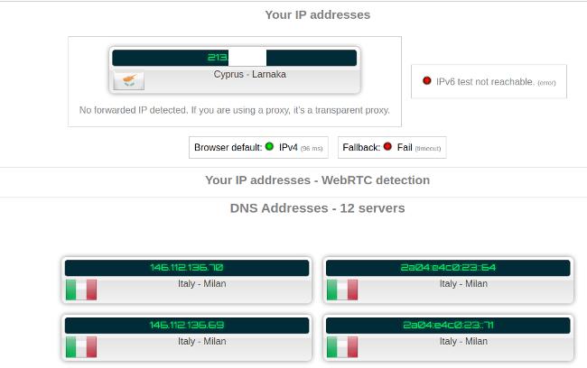 Test result without VPN enabled