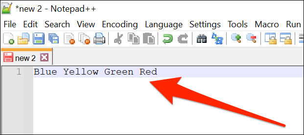 A list of items on one line in Notepad ++.