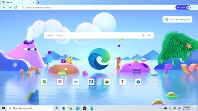kids mode new tab page
