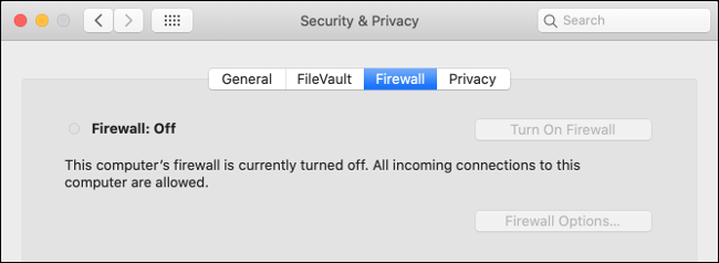 macOS Firewall Disabled