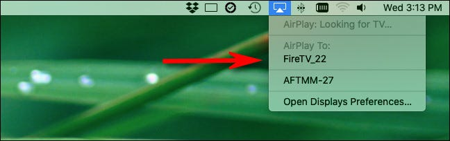 Click the AirPlay icon and select an AirPlay receiver device.