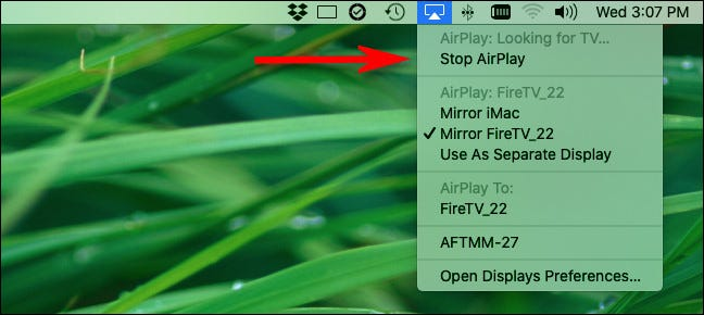 """To stop screen sharing, click the AirPlay icon and select """"Stop AirPlay."""""""