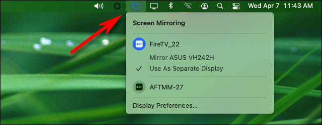 Click the Screen Sharing icon in the menu bar and you'll see a menu.
