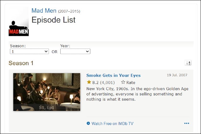 Mad Men on IMDb TV