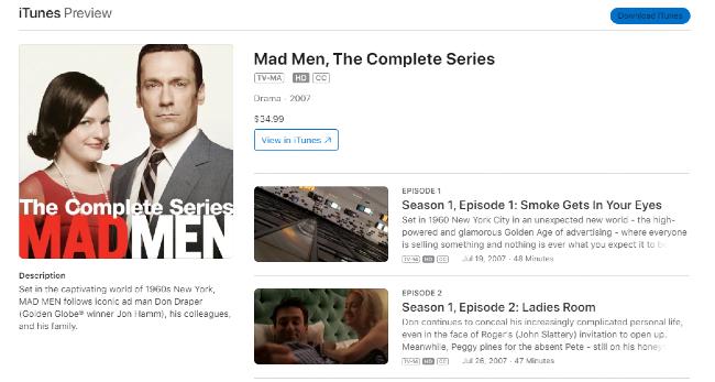 Mad Men on iTunes