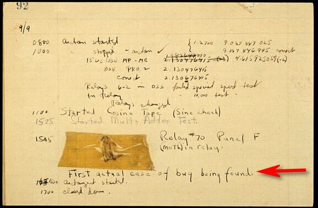 The famous Mark IV moth taped into a 1947 log book.