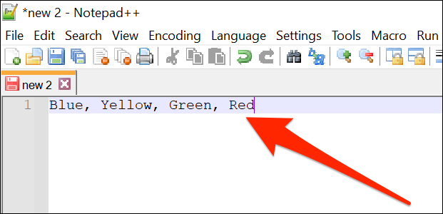 A comma separated item list in Notepad ++.