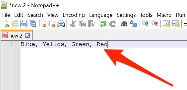Danh sách mục được phân tách bằng dấu phẩy trong Notepad ++.