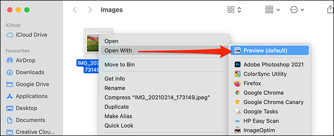 Right-click an image and select Open With > Preview.