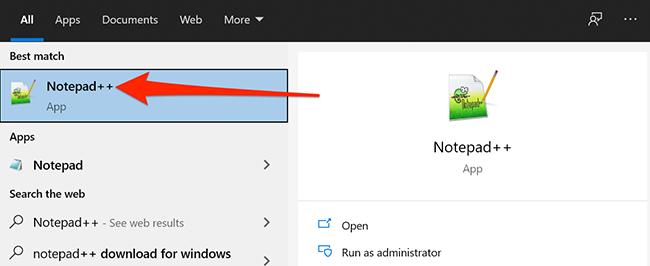 Khởi chạy Notepad ++ trong menu Bắt đầu của Windows.