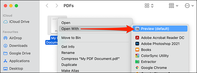 Right-click a PDF and select Open With > Preview.