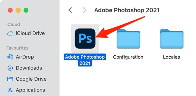 Photoshop in Mac's Applications folder