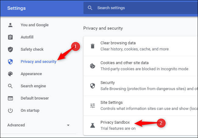 """Click """"Privacy and security"""" and click """"Privacy sandbox."""""""