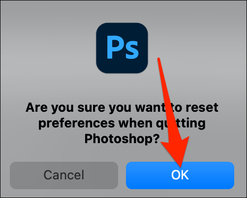 Select OK from the reset prompt in Photoshop