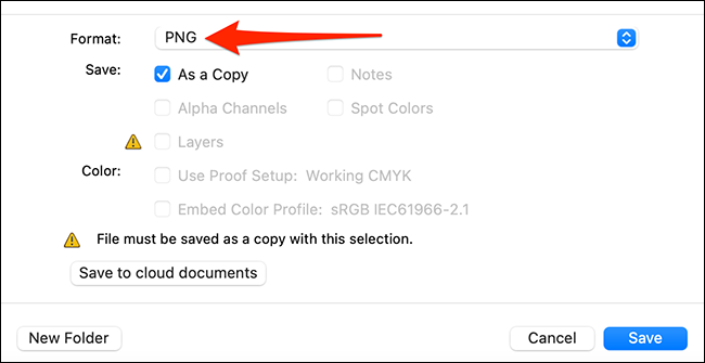 Save an image with Photoshop's save window
