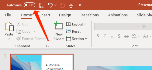 Click the toggle next to AutoSave