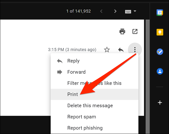 Print option in More menu of Gmail on Windows