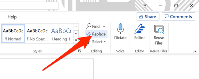 """Click """"Replace"""" under the """"Home"""" tab of Word."""