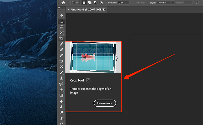 Example of an extensive tooltip in Photoshop