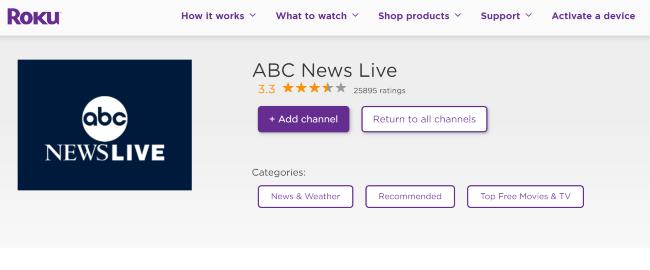 ABC News live channel on Roku