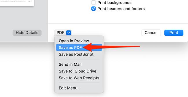 Choose Save as PDF from Safari's print dialog box