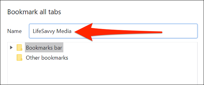 Окно сохранения закладок в Chrome