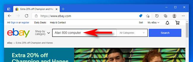 On the eBay desktop website, type in a search.