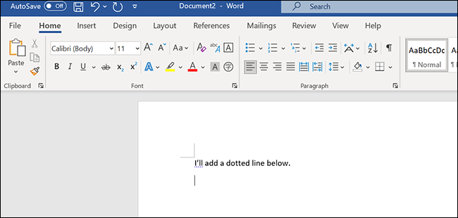 Place the cursor somewhere to add a line in the Word window.